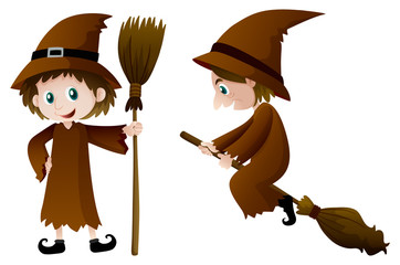 Two witches with magic broomstick