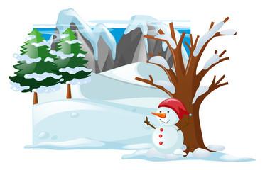 Winter scene with snowman on snow