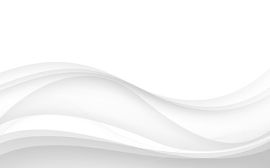 Abstract white waves - data stream concept. Vector illustration Wall mural