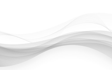 Abstract white waves - data stream concept. Vector