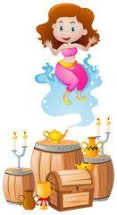 Cute genie coming out of lamp
