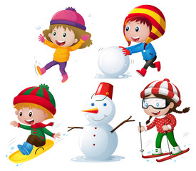 Children in winter clothes playing snow
