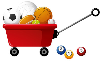 Different kinds of balls on red wagon