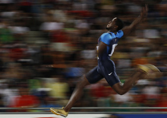 Dwight Phillips of the U.S. competes in the men's long jump final at the IAAF World Championships in Daegu