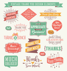 Set of thank you card design elements in a variety of styles. Easy to edit. Vector illustration.