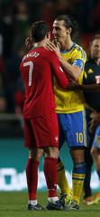 Sweden's Ibrahimovic congratulates Portugal's Ronaldo after their 2014 World Cup first leg qualifying playoff soccer match in Lisbon