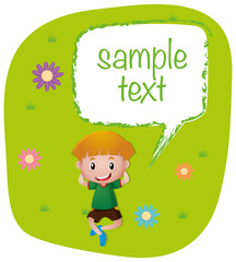 Sample text template with boy on lawn