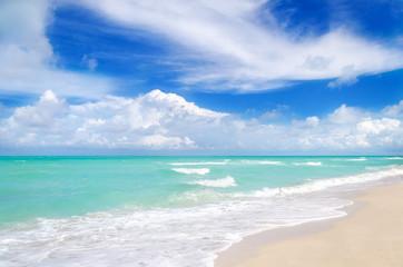 Wall Mural - Miami tropical beach, blue sky and ocean, Florida, USA