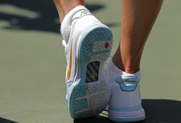 Sharapova wears shoes with her name monogrammed on the back during the final of the Sony Ericsson Open tennis tournament in Key Biscayne