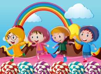 Happy children running in wonderland