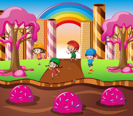 Happy children playing in candy land