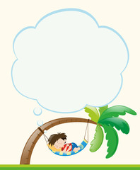Frame template with boy napping on tree