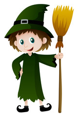 Witch in green outfit with magic broom