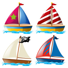 Four designs of sailboats