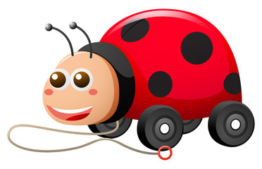 Ladybug with wheels and string