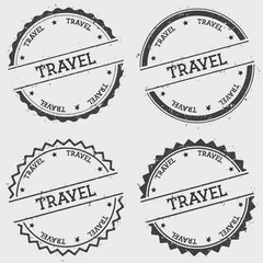 Travel insignia stamp isolated on white background. Grunge round hipster seal with text, ink texture and splatter and blots, vector illustration.