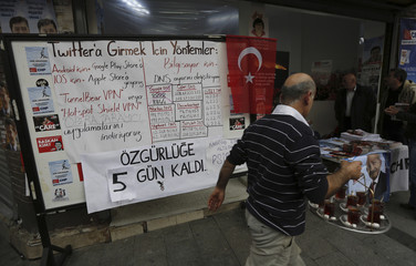 A board shows alternative ways to access Twitter, is placed at an election campaign office of the main opposition CHP in Istanbul