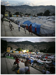 Combo of people walking near makeshift shelters after the January 2010 earthquake in Port-au-Prince