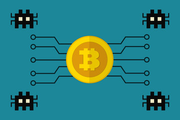 Bitcoin cryptographic currency under malware attack flat design vector
