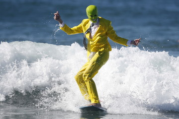 "Nicholson surfs as ""The Mask"" during the ZJ Boarding House Haunted Heats Halloween Surf Contest in Santa Monica"