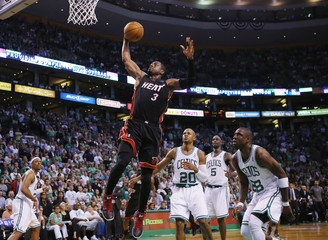 Miami Heat's Wade drives to th enet past the Boston Celtics during the third quarter in Game 3 of their Eastern Conference Finals NBA basketball playoffs in Boston