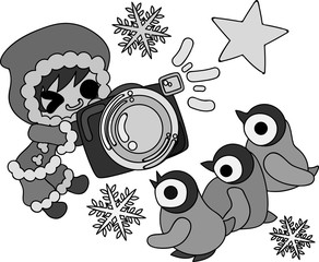 The cute illustration of winter and girls -Photography of the baby penguins-
