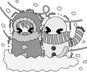 The cute illustration of winter and girls -Blizzard-