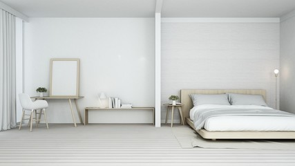 The interior minimal bedroom space in condominium and decoration white background - 3D Rendering