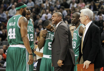 Celtics coach Rivers yells at his team during a time out against the Raptors during their NBA basketball game in Toronto