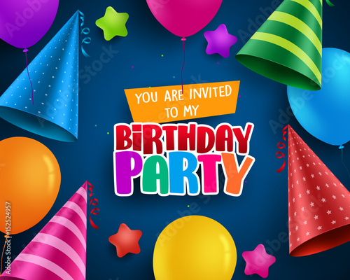 Birthday party vector invitation greeting card design with colorful birthday party vector invitation greeting card design with colorful birthday hats and balloons elements in blue stopboris Gallery
