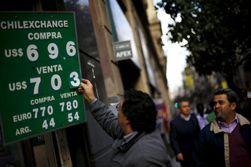A worker arranges a board showing variosu currencies against the Chilean Peso at a money exchange bureau at downtown Santiago