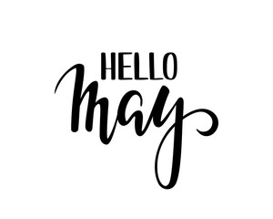 hello may. Hand drawn calligraphy and brush pen lettering.