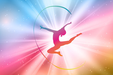 Rhythmic Gymnasts Silhouettes, Colorful, Rainbow