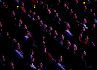 The crowd watches trailers of new games during the Sony Corporation's PlayStation 4 E3 2016 event in Los Angeles