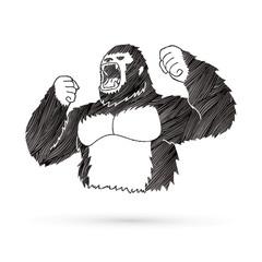 Angry King Kong, Big Gorilla designed using grunge brush graphic vector