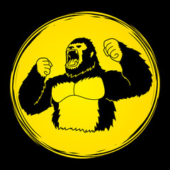 Angry King Kong, Big Gorilla designed on moonlight background graphic vector
