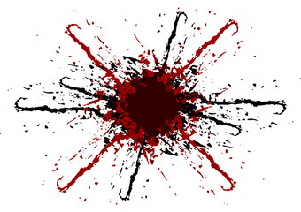 vector splatter black and red color background. illustraitttion