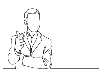 standing businessman showing thumb up gesture - continuous line drawing