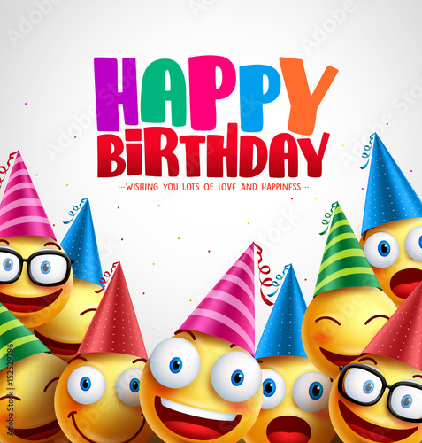 """Happy Birthday Wishes Pictures Photos Images And Pics: """"Smiley Happy Birthday Greeting Card Colorful Vector"""