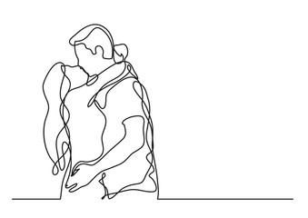 loving couple embracing and kissing - continuous line drawing