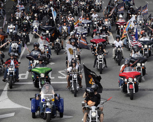 Harley Davidson motorcyclists ride on the streets of Barcelona during the Barcelona Harley Days
