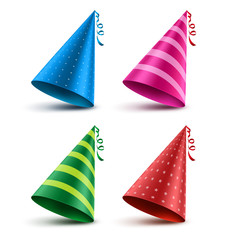 Birthday hat vector set with colorful patterns as elements and decorations for party and celebrations isolated in white background. Vector illustration.