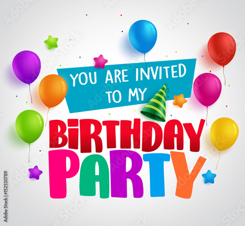 Birthday party invitation background vector design with greetings birthday party invitation background vector design with greetings and colorful balloons and birthday elements in white stopboris Gallery