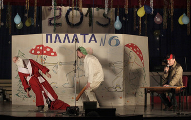 Inmates, with one dressed as Father Frost, perform during the KVN humour competition devoted to Christmas and New Year at a high-security prison for males, in the vicinity of Krasnoyarsk