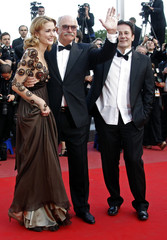 Director Mikhalkov and cast members Menshikov and Mikhalkova arrive on the red carpet at the 63rd Cannes Film Festival