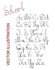 Hand written classical latin alphabet letters drawn with a pen in black color, vector of calligraphy thin font for greeting card, advertisement, etc