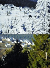 A combination picture of vacation homes at a skiing area of the western city Winterberg