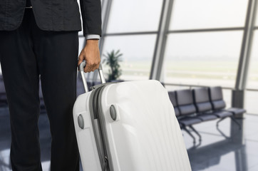 Businessman and suitcase