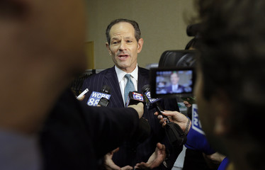 Former New York Governor Eliot Spitzer responds to questions during a news interview after a primary debate for New York City comptroller in the WCBS-TV studios in New York