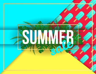 Summer sale vivid layout design with ice cream, lettering, ribbon, frame, background. Vector illustration. Hello summer season colorful fresh design for party, poster, menu, flyer, card, invitation.